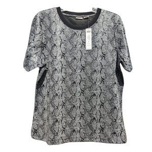 Chico's NWT Black and White Snake-Print Jacquard Tee - Chico's Size 2 US Size L